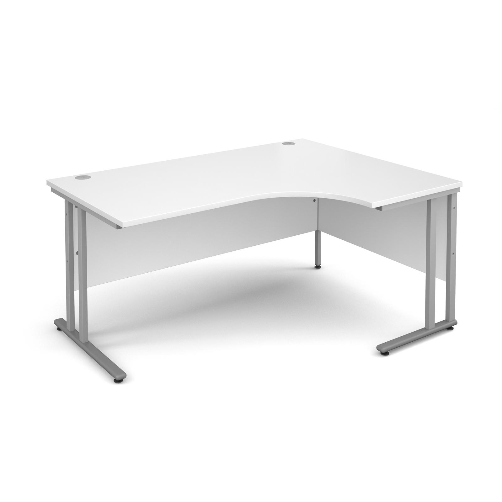 Maestro 25 Sl Right Hand Ergonomic Desk 1600mm - Silver Cantilever Frame, White Top