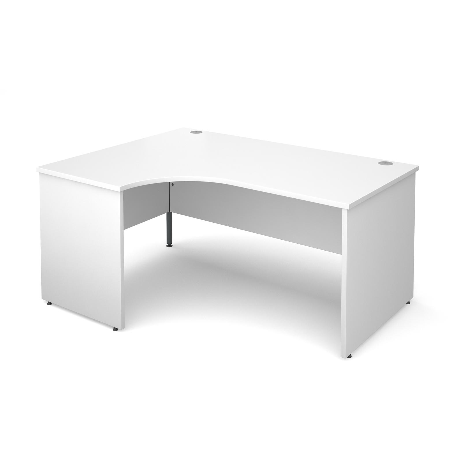 Maestro 25 Pl Left Hand Ergonomic Desk 1600mm - White Panel Leg Design