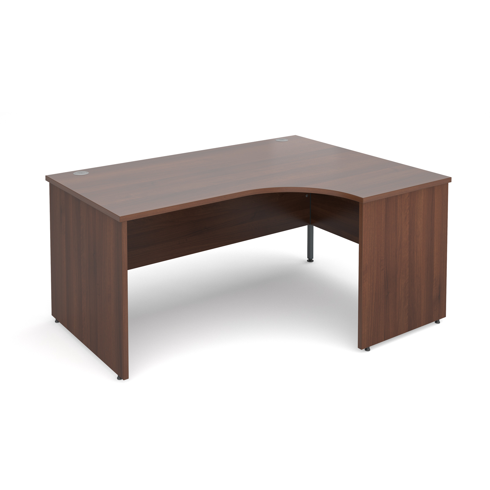 Maestro 25 Pl Right Hand Ergonomic Desk 1600mm - Walnut Panel Leg Design