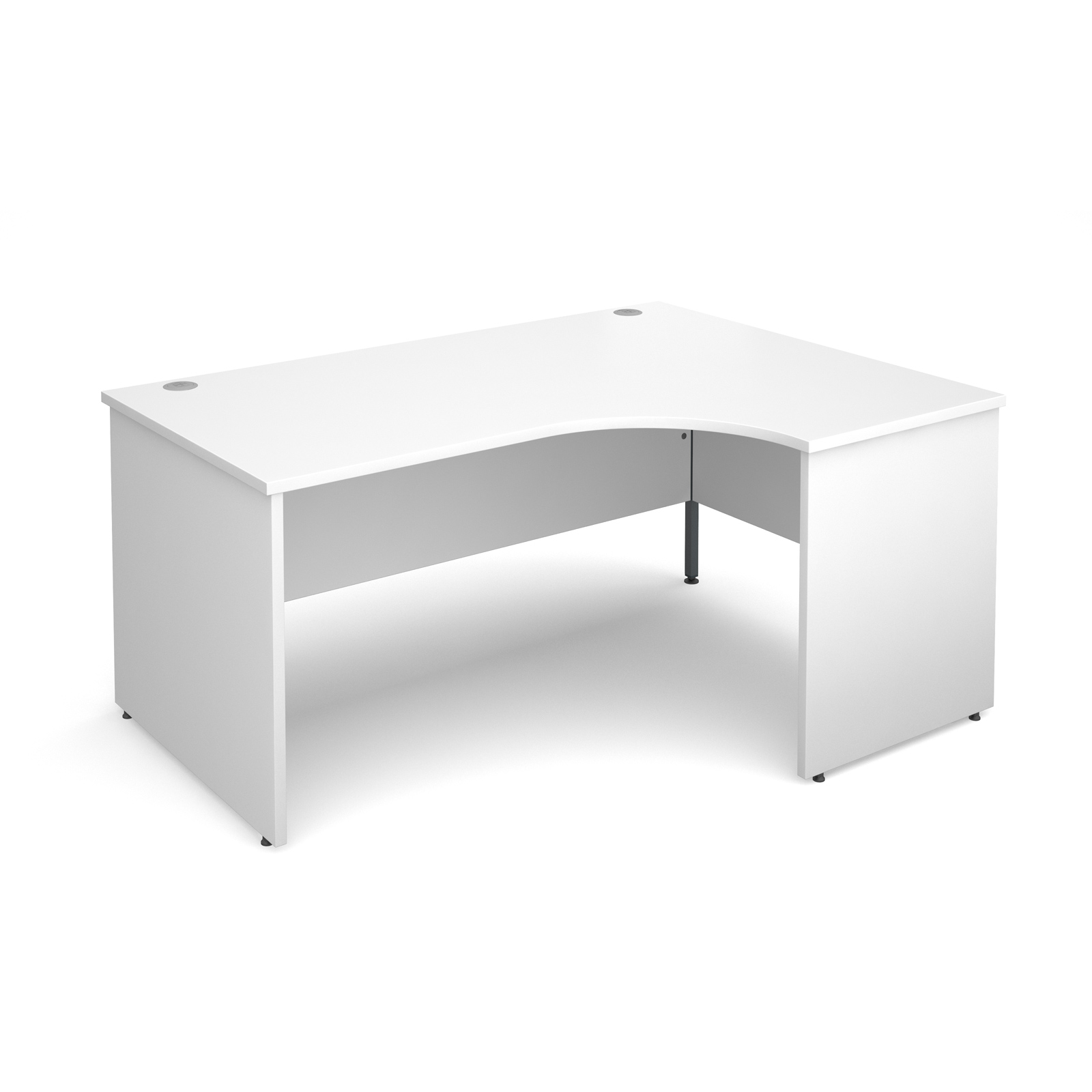 Maestro 25 Pl Right Hand Ergonomic Desk 1600mm - White Panel Leg Design