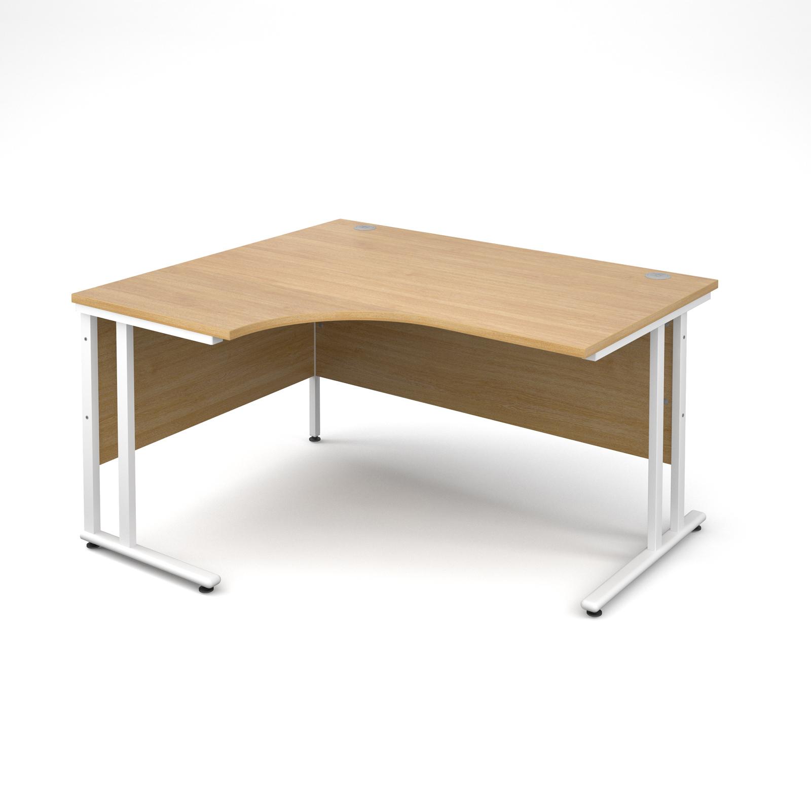 Maestro 25 WL left hand ergonomic desk 1400mm - white cantilever frame, oak top
