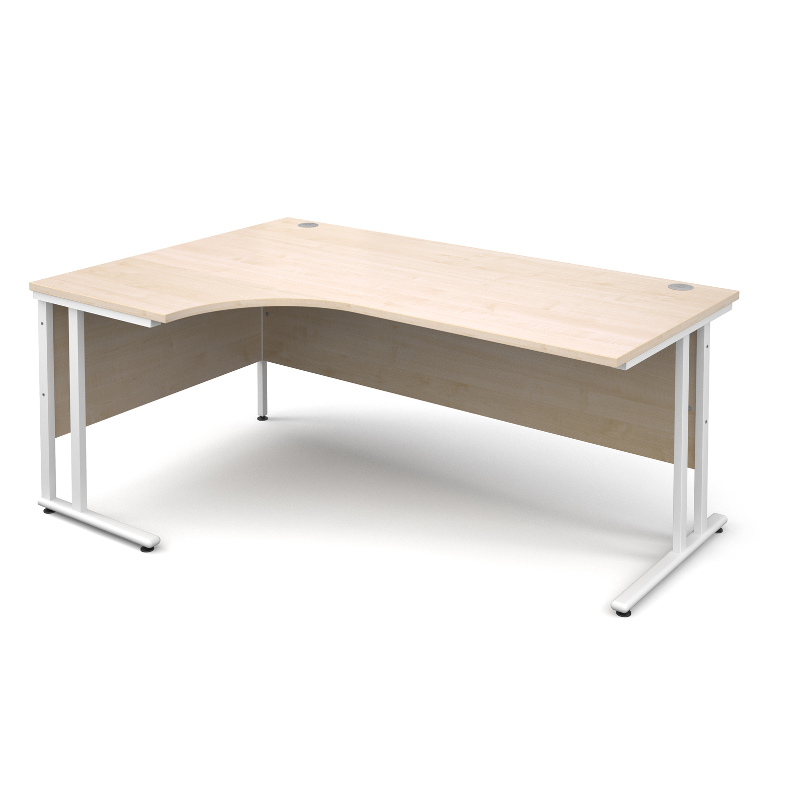 Maestro 25 Wl Left Hand Ergonomic Desk 1800mm - White Cantilever Frame, Maple Top