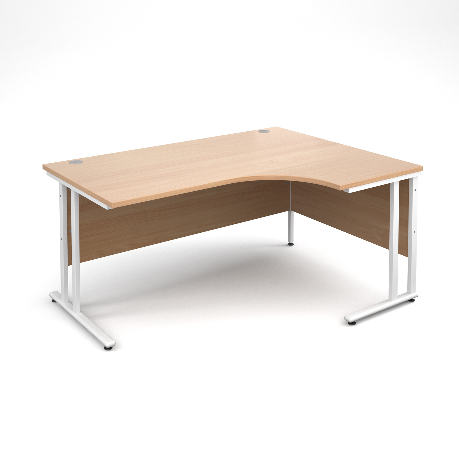 Maestro 25 WL right hand ergonomic desk 1600mm - white cantilever frame and beech top