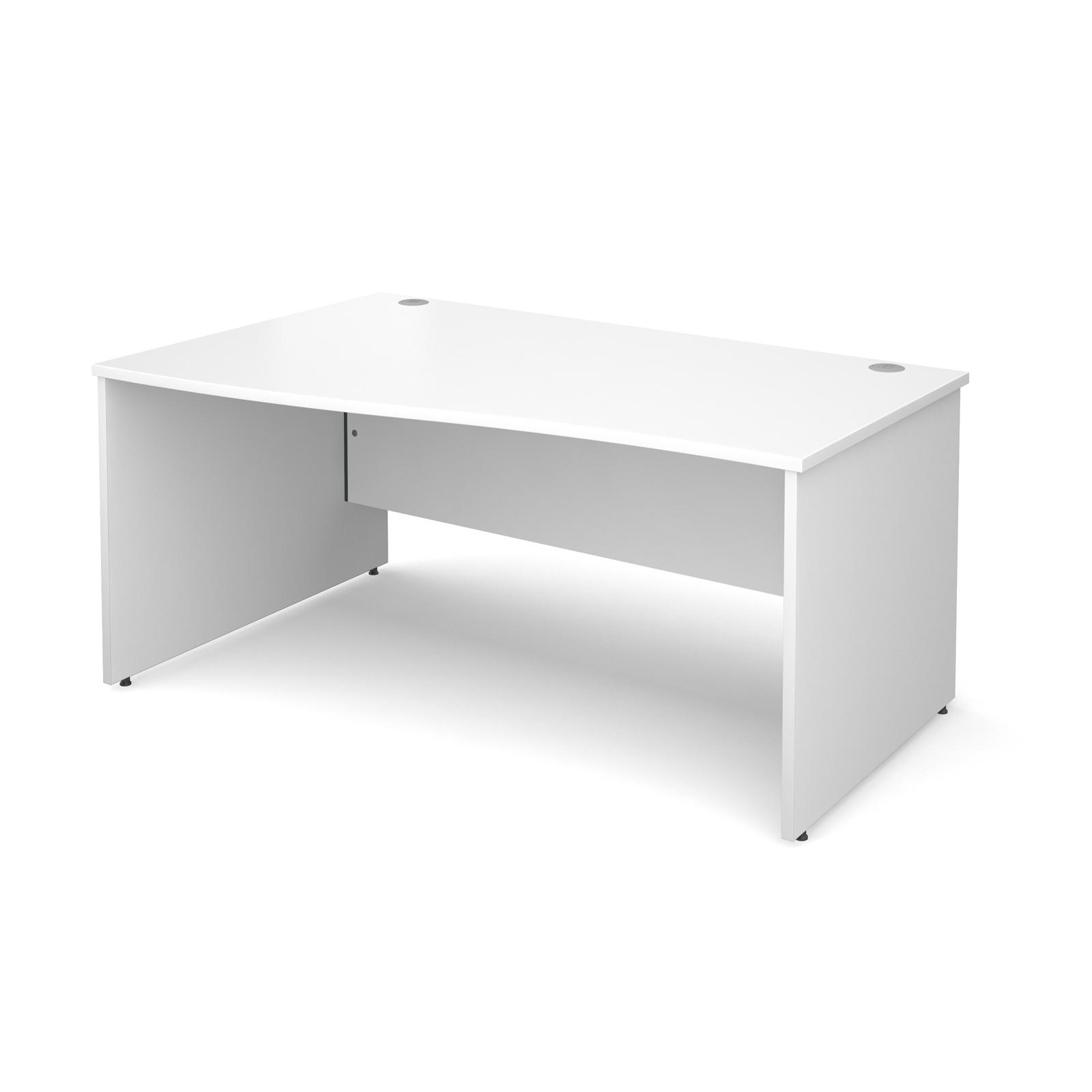 Maestro 25 Pl Left Hand Wave Desk 1600mm - White Panel Leg Design