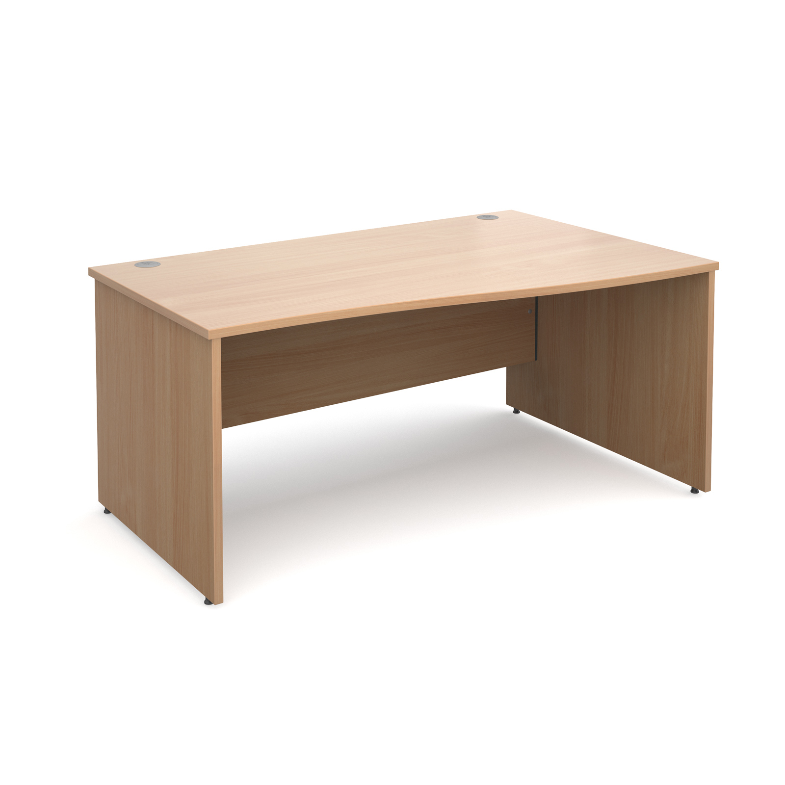 Maestro 25 PL right hand wave desk 1600mm - beech panel leg design