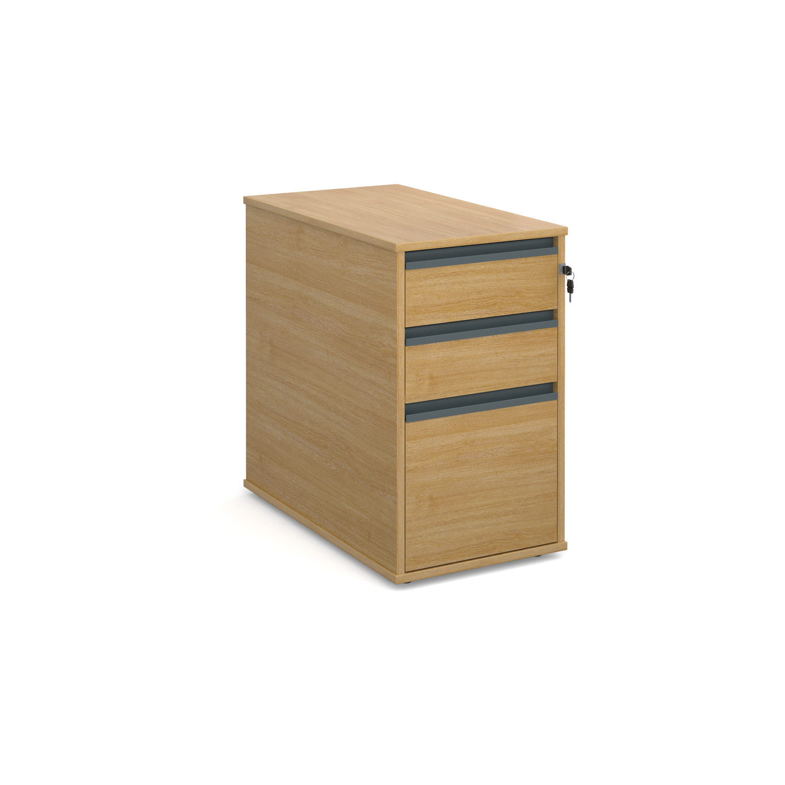 Maestro desk end 3 drawer pedestal 746mm deep - oak