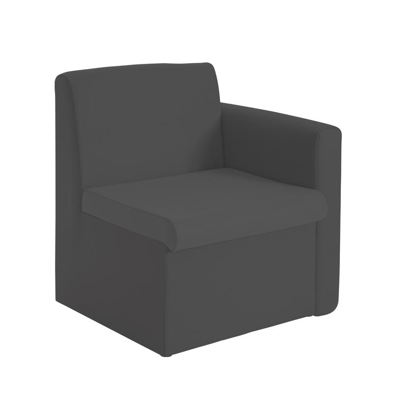Alto modular reception seating with left hand arm - charcoal
