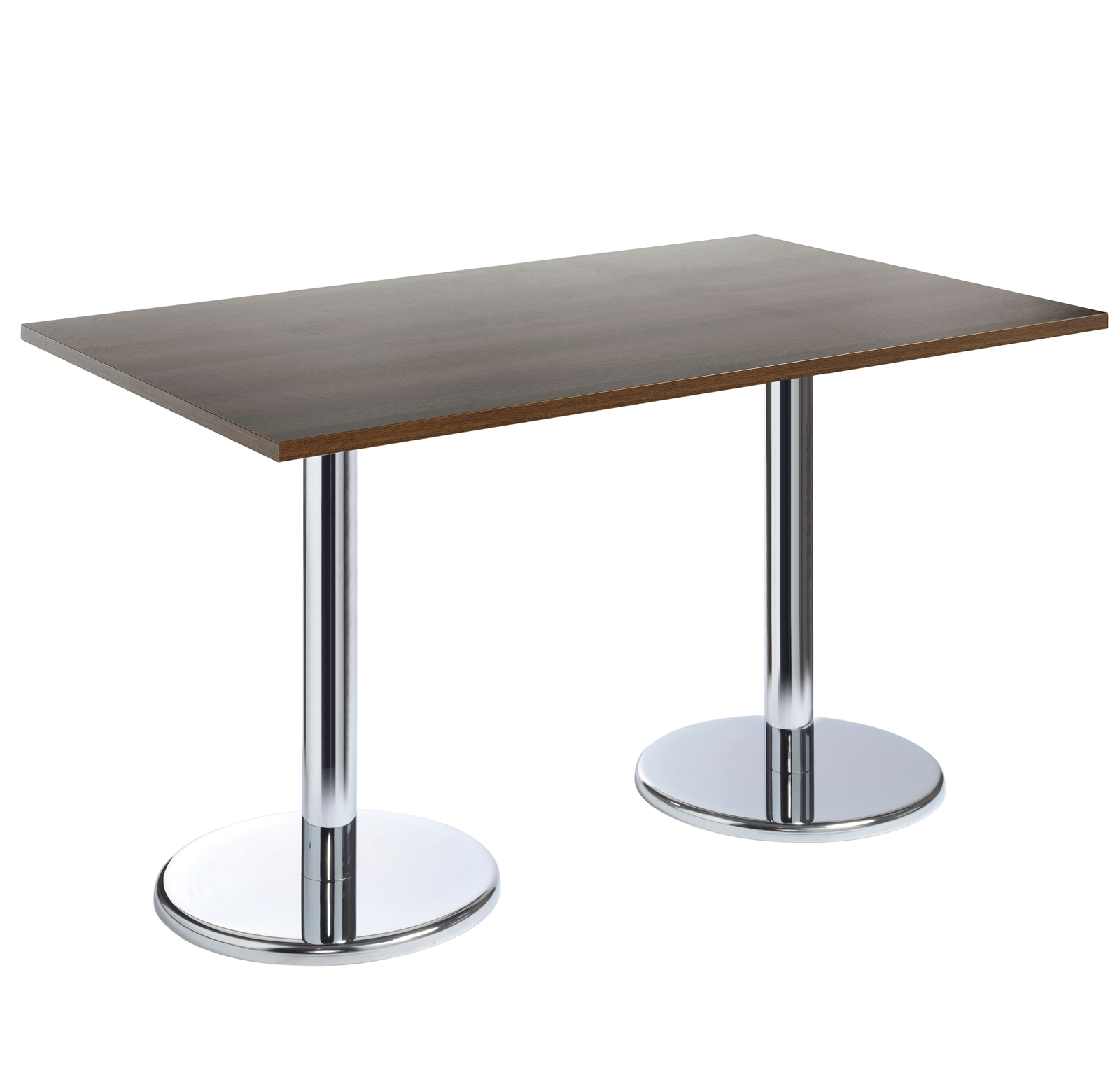 Pisa rectangular table with round chrome base 1300mm x 800mm - walnut