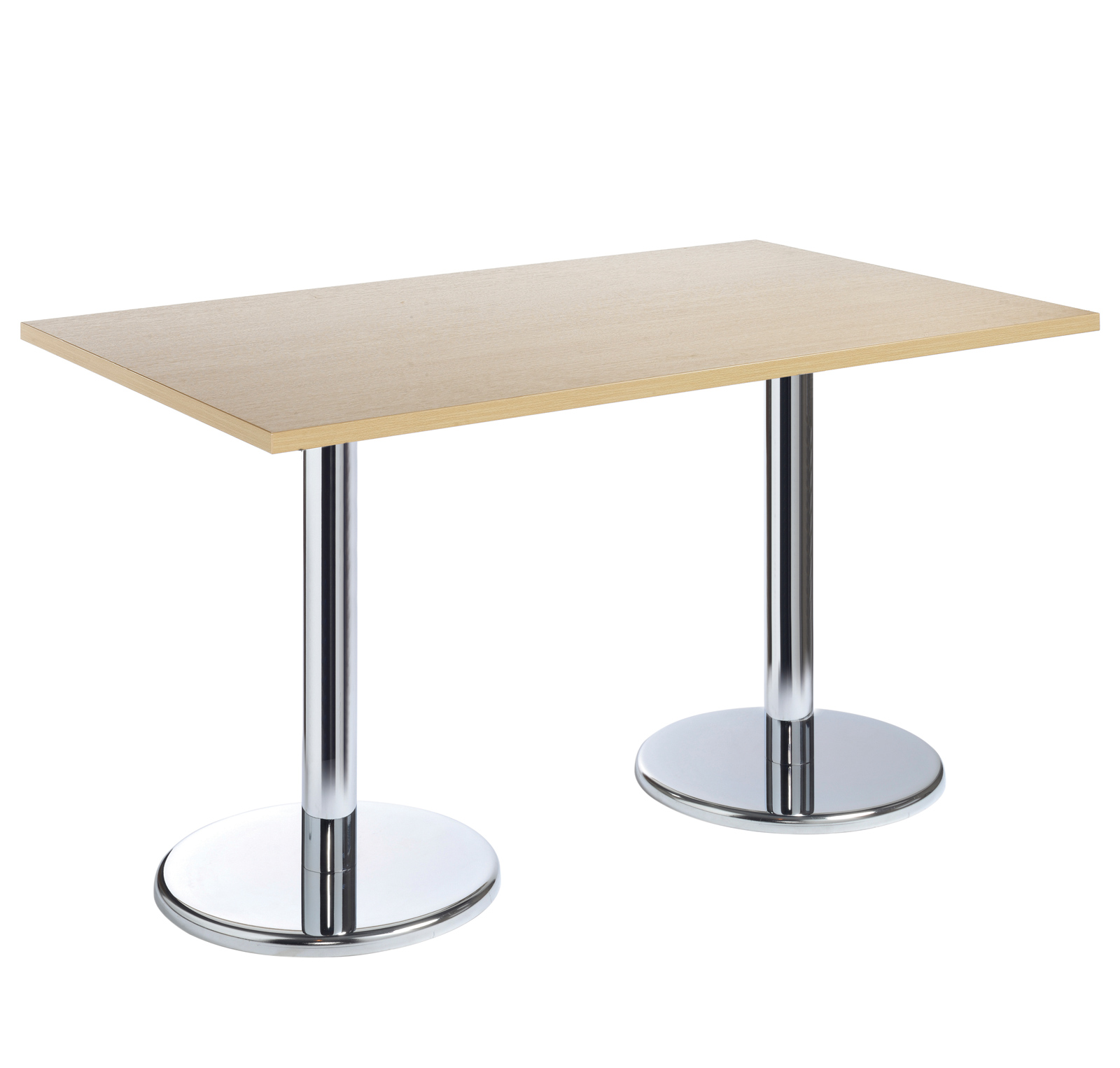 Pisa rectangular table with round chrome base 1600mm x 800mm - beech