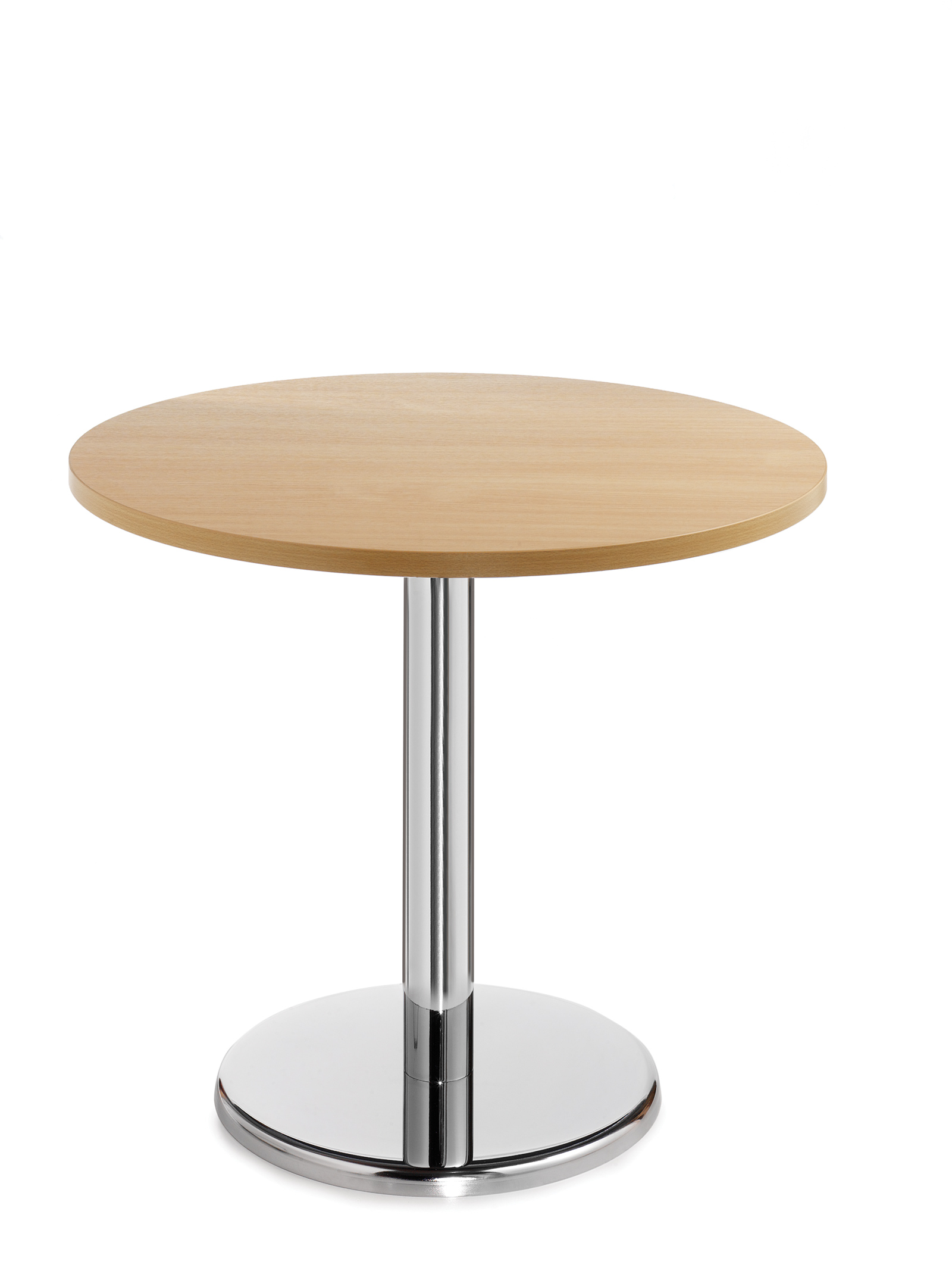 Pisa circular table with round chrome base 600mm - beech