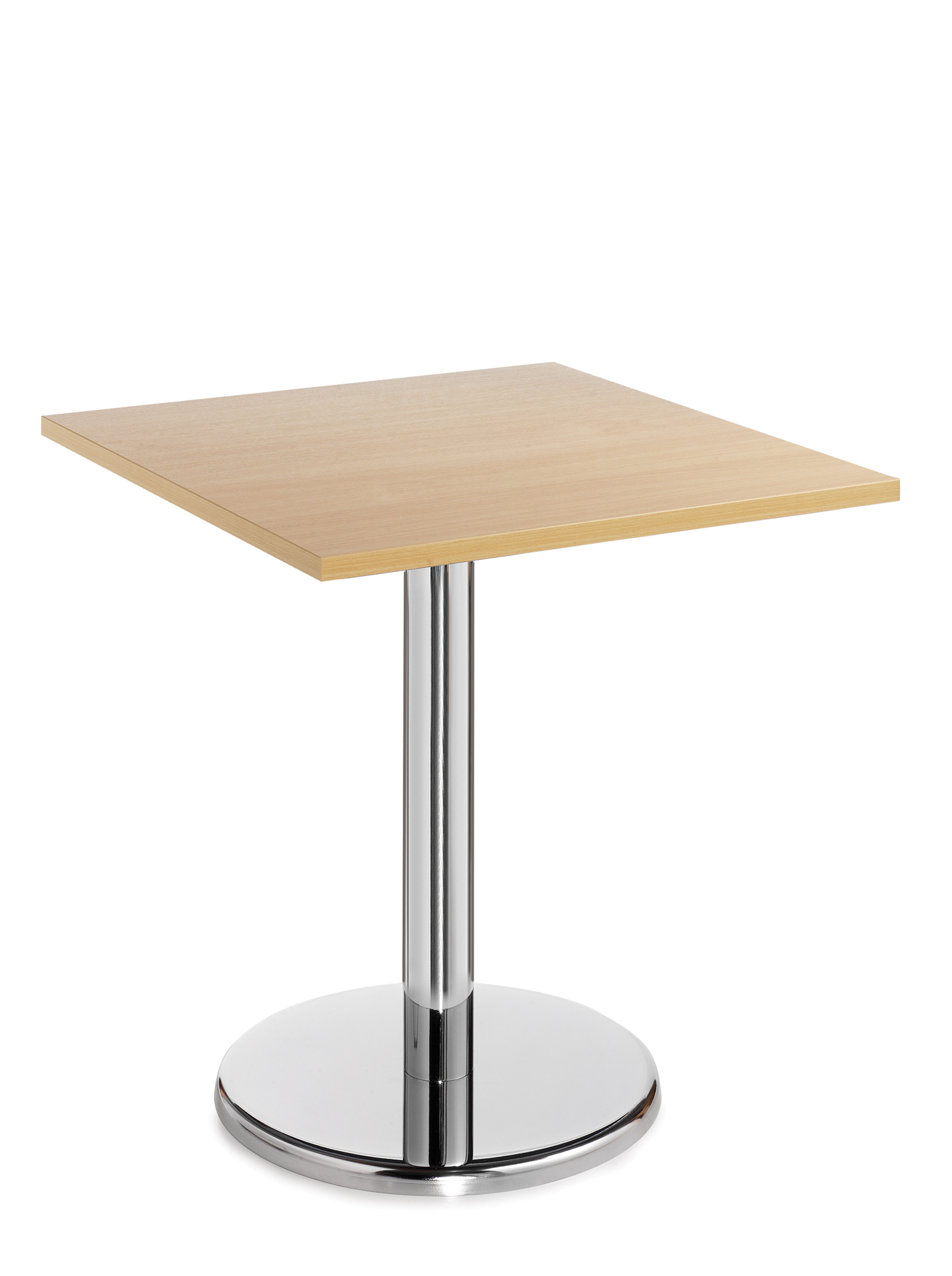 Pisa square table with round chrome base 700mm - beech