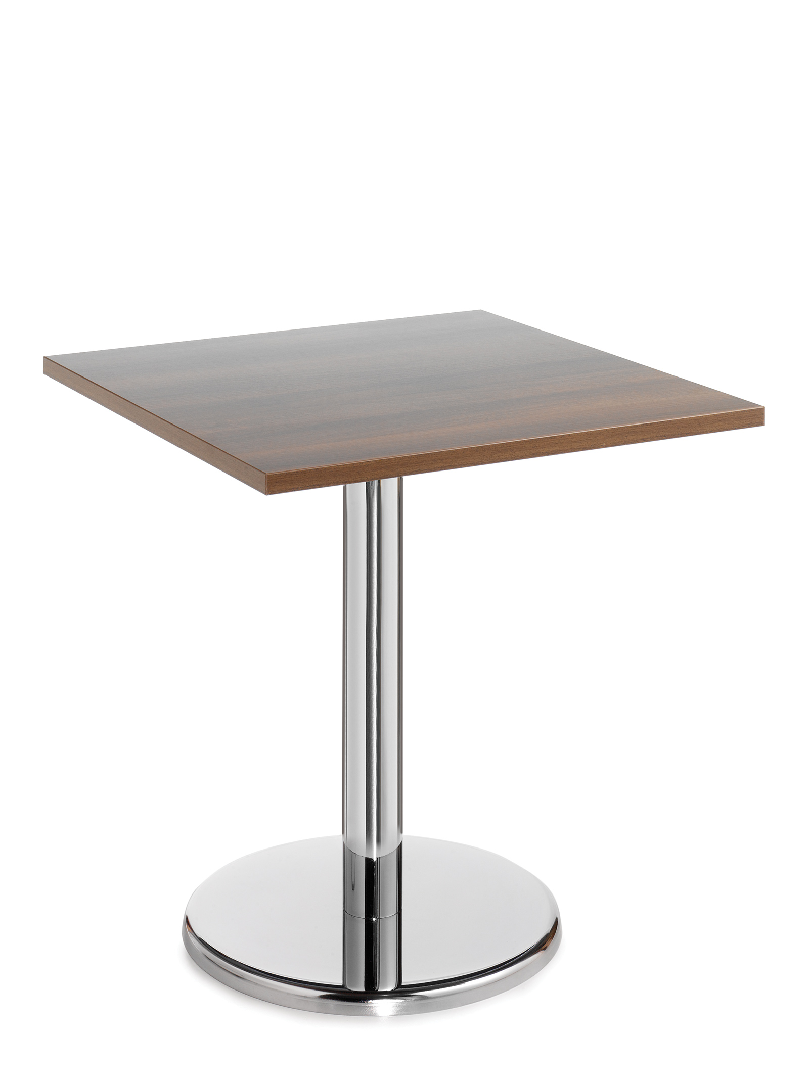 Pisa square table with round chrome base 700mm - walnut
