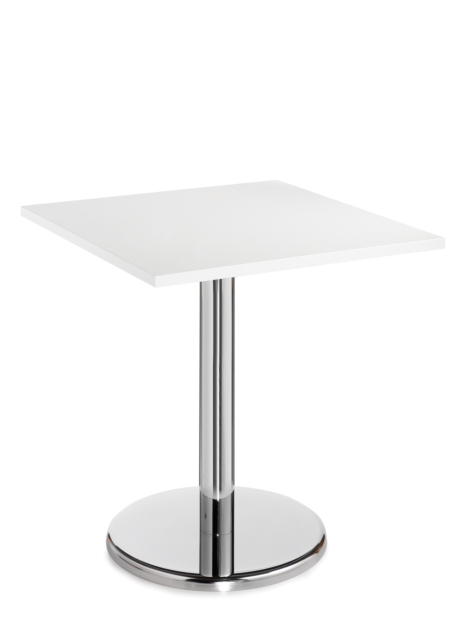 Pisa square table with round chrome base 700mm - white