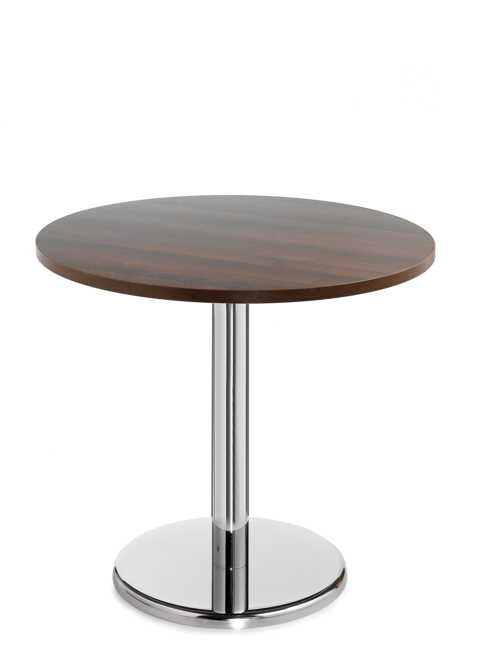 Pisa circular table with round chrome base 800mm - walnut