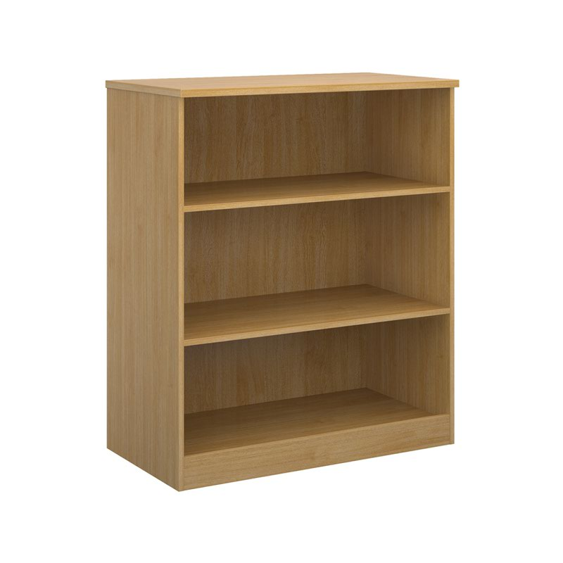 Deluxe bookcase 1200mm high with 2 shelves - oak