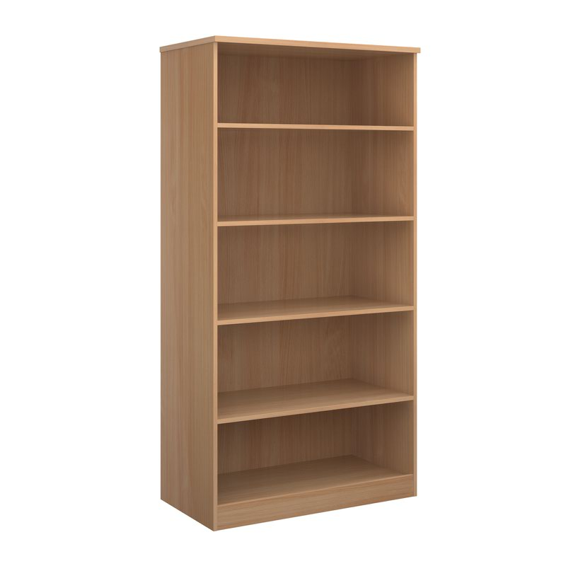 Deluxe bookcase 2000mm high with 4 shelves - beech