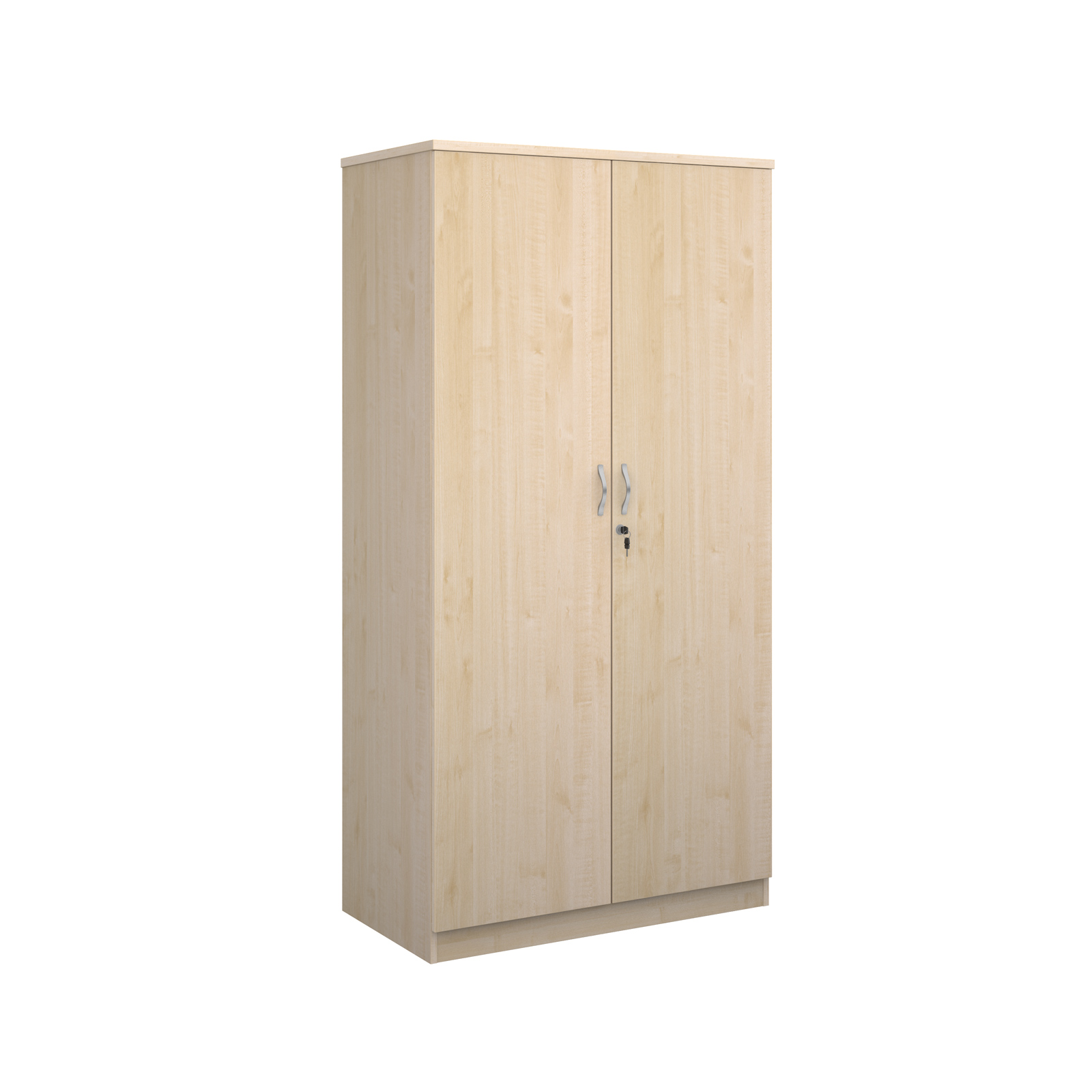 Deluxe double door cupboard 2000mm high with 4 shelves - maple