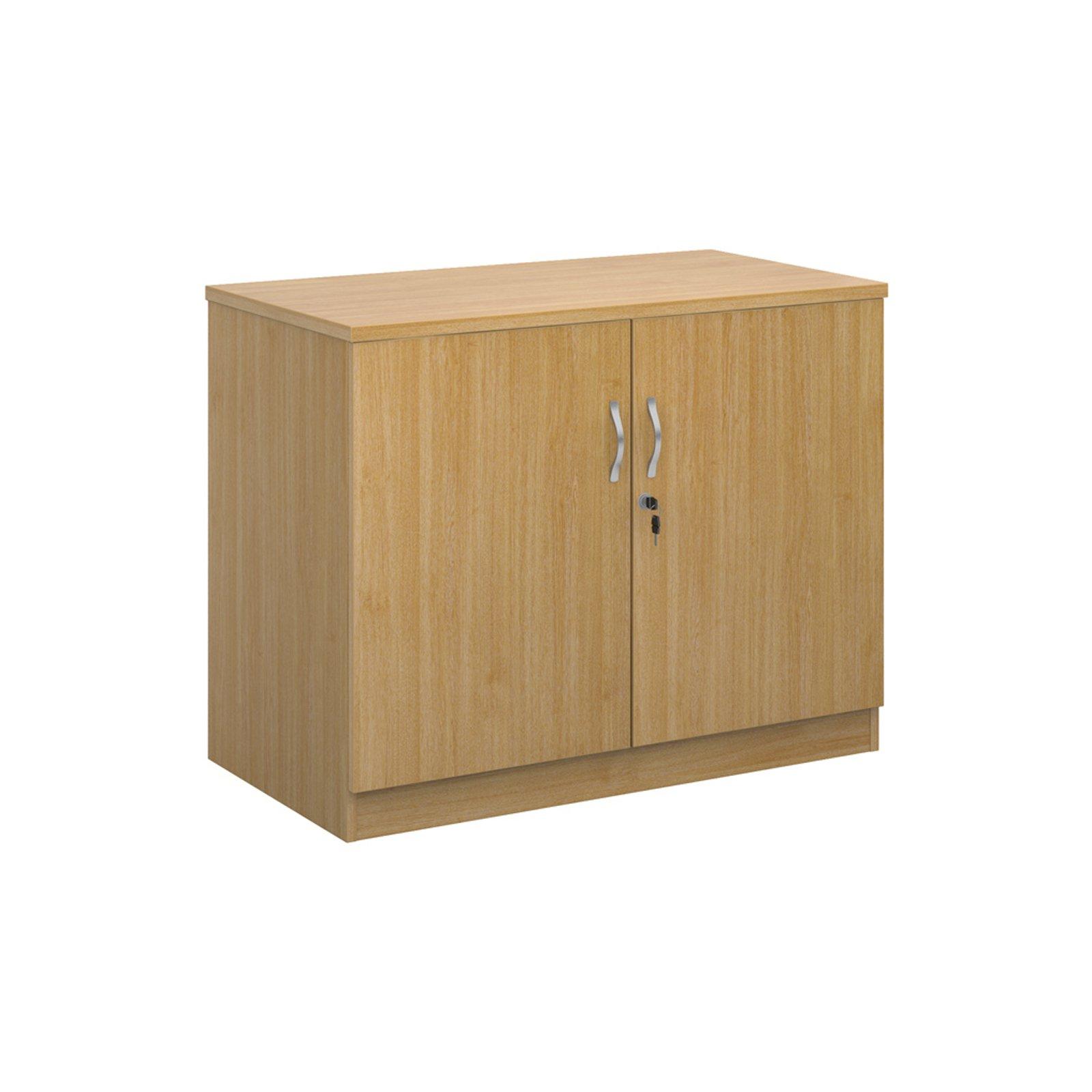 Deluxe double door cupboard 800mm high with 1 shelf - oak