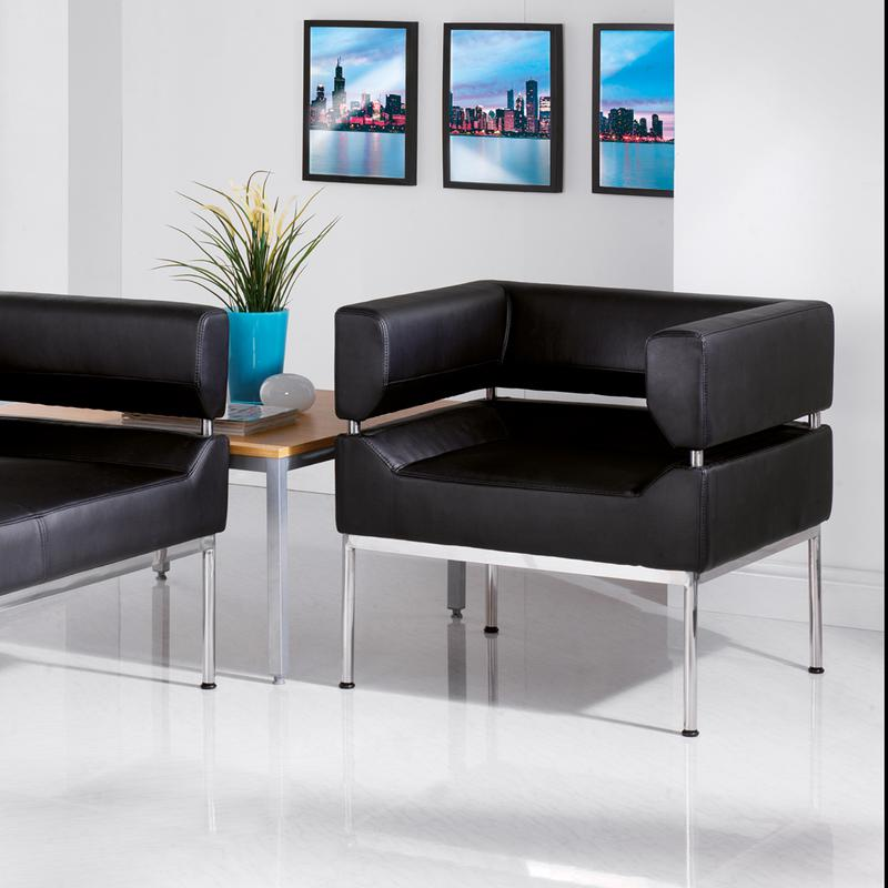 Benotto reception single tub chair 720mm wide - black faux leather