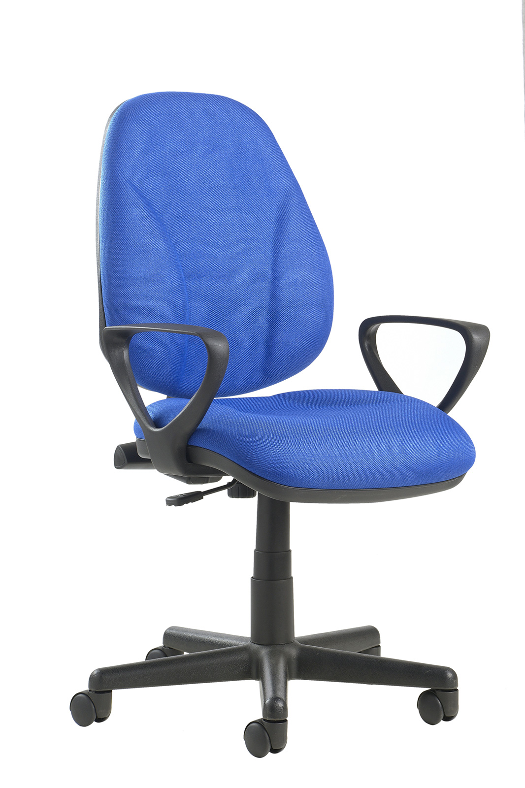 Bilbao fabric operators chair with lumbar support and fixed arms - blue