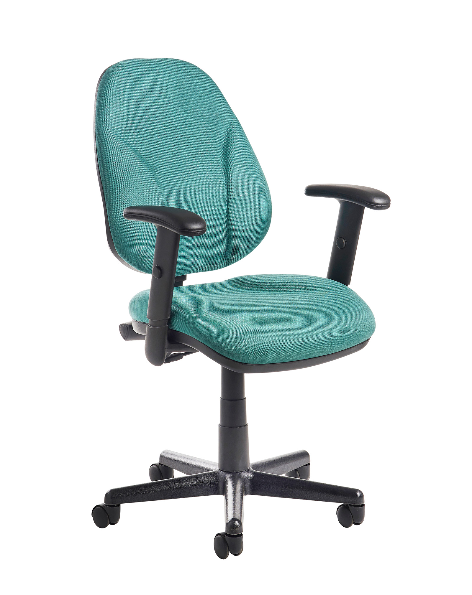 Bilbao fabric operators chair with lumbar support and adjustable arms - green