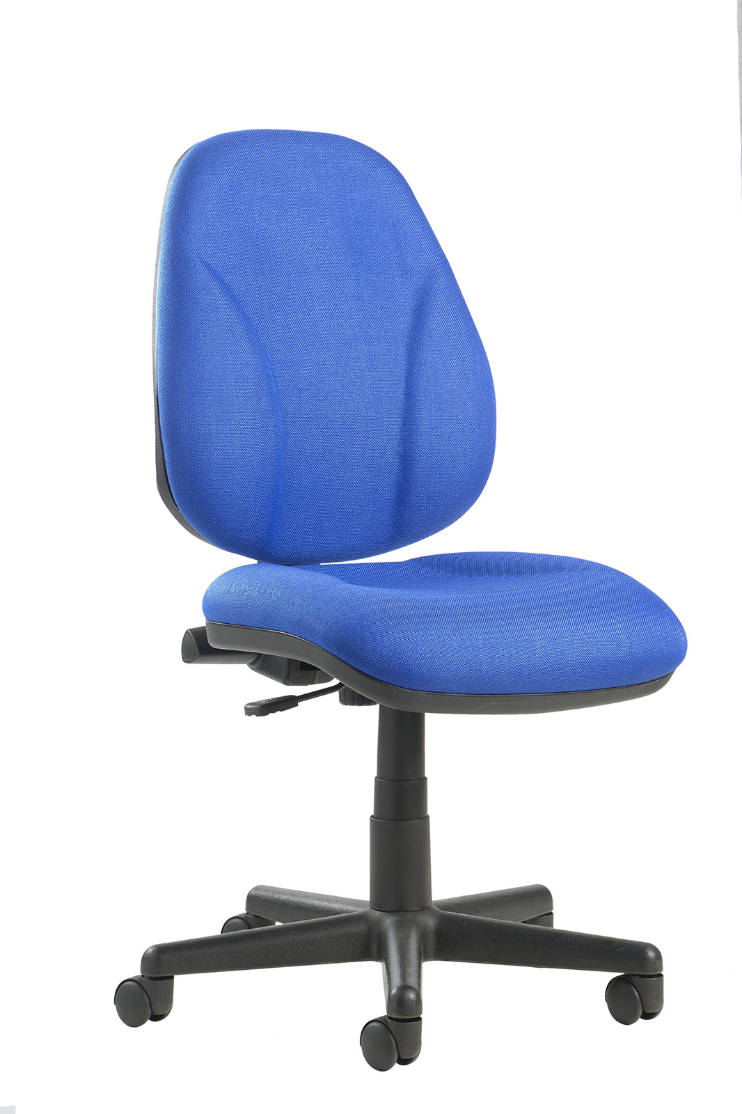 Bilbao fabric operators chair with lumbar support and no arms - blue