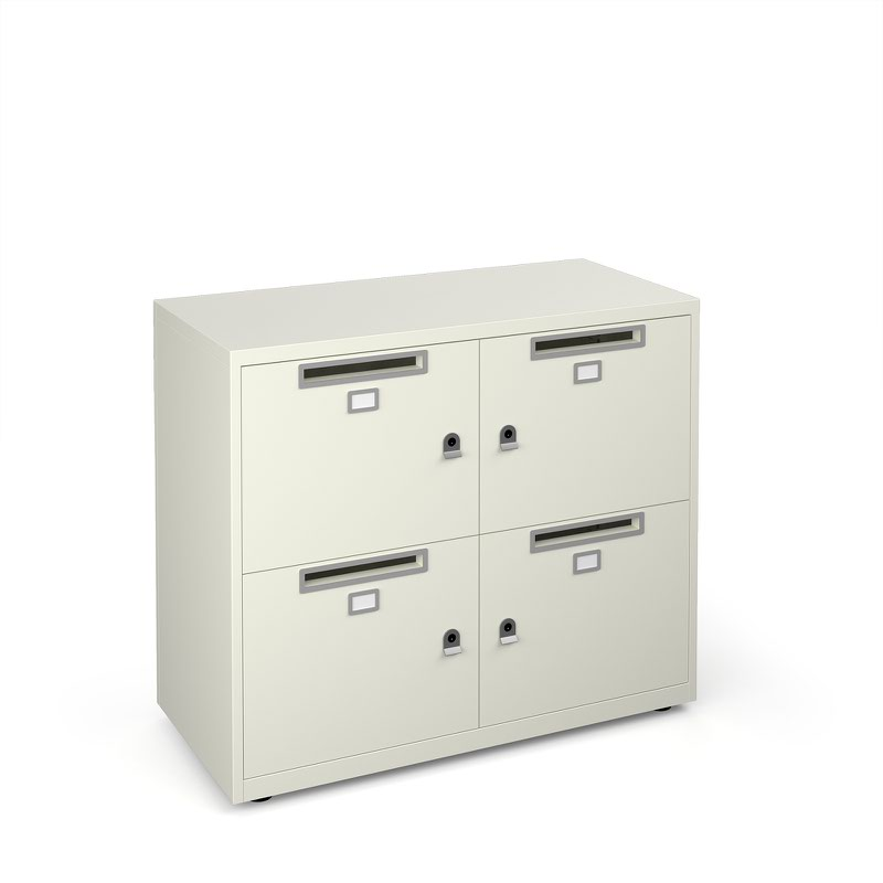 Bisley lodges with 4 doors and letterboxes - white