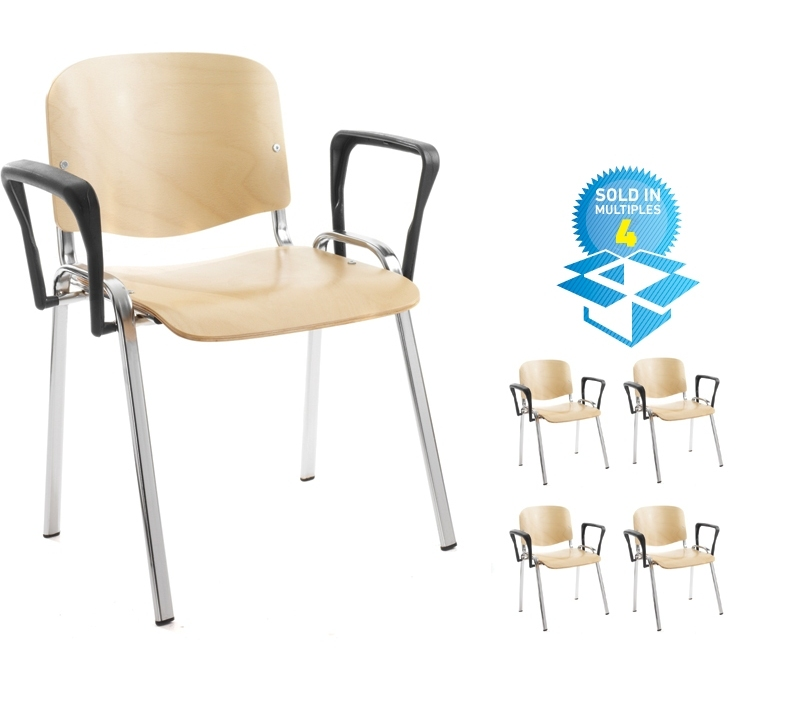 Taurus wooden meeting room stackable chair (box of 4) with fixed arms - beech with chrome frame