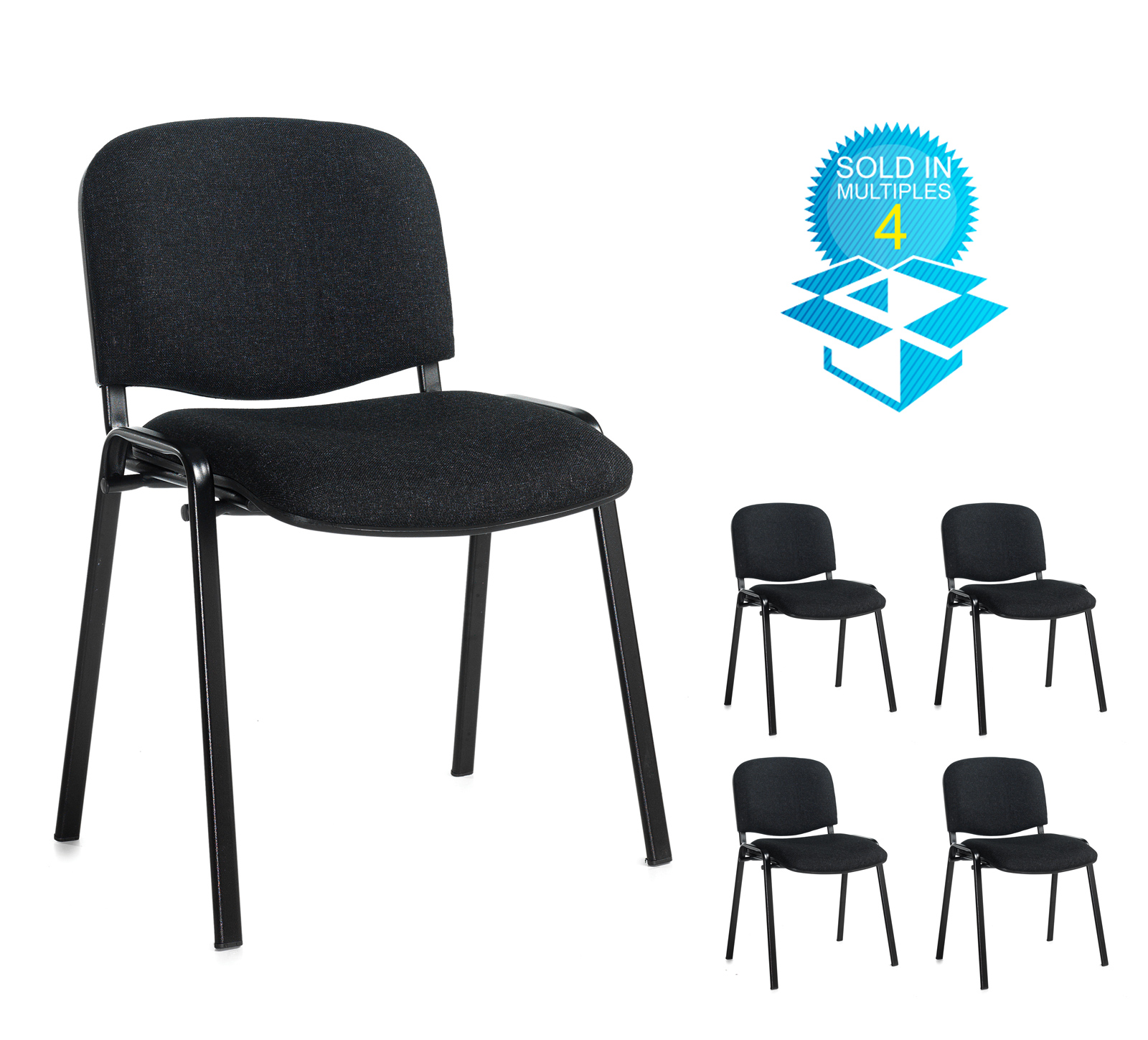 Taurus meeting room stackable chair (box of 4) with black frame and no arms - charcoal