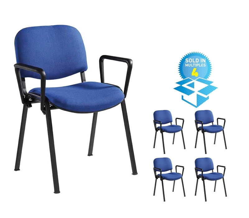 Taurus meeting room stackable chair (box of 4) with black frame and fixed arms - blue