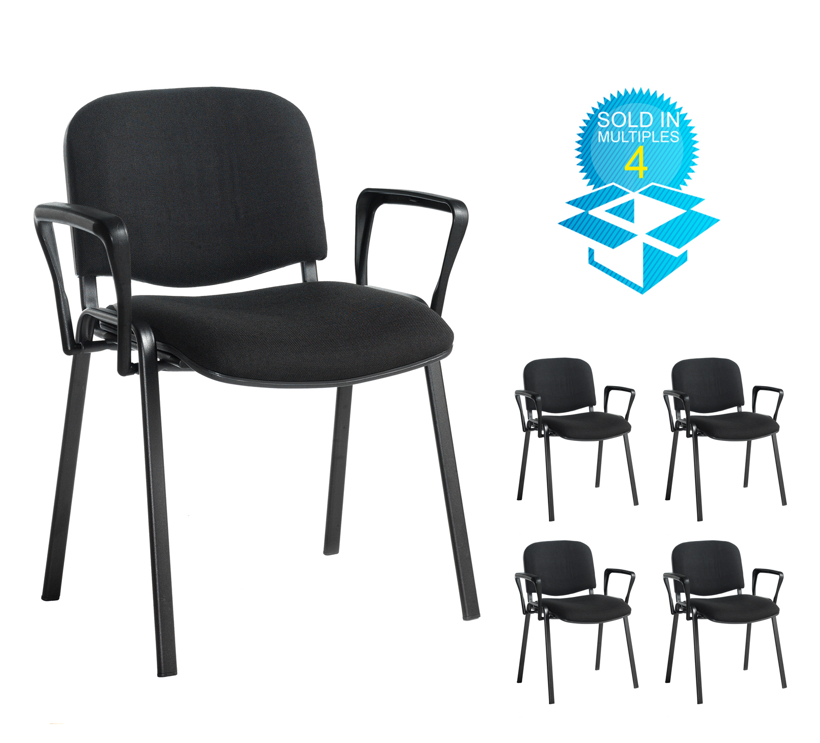 Taurus meeting room stackable chair (box of 4) with black frame and fixed arms - charcoal