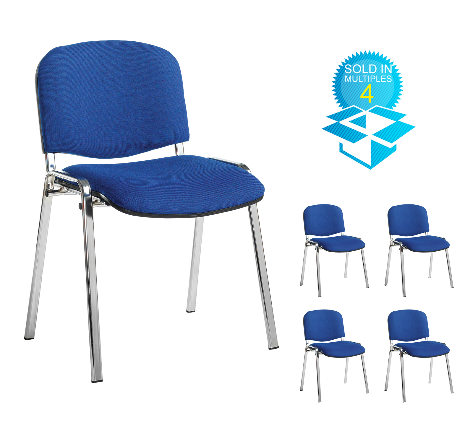 Taurus meeting room stackable chair (box of 4) with chrome frame and no arms - blue