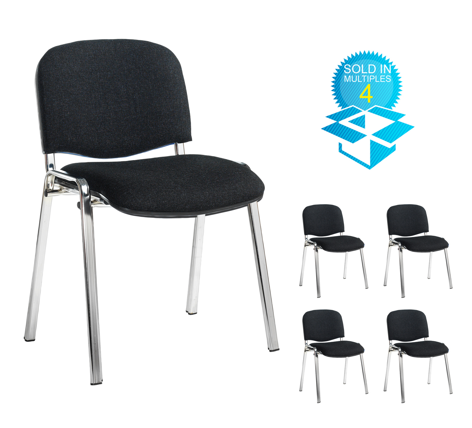 Taurus meeting room stackable chair (box of 4) with chrome frame and no arms - charcoal