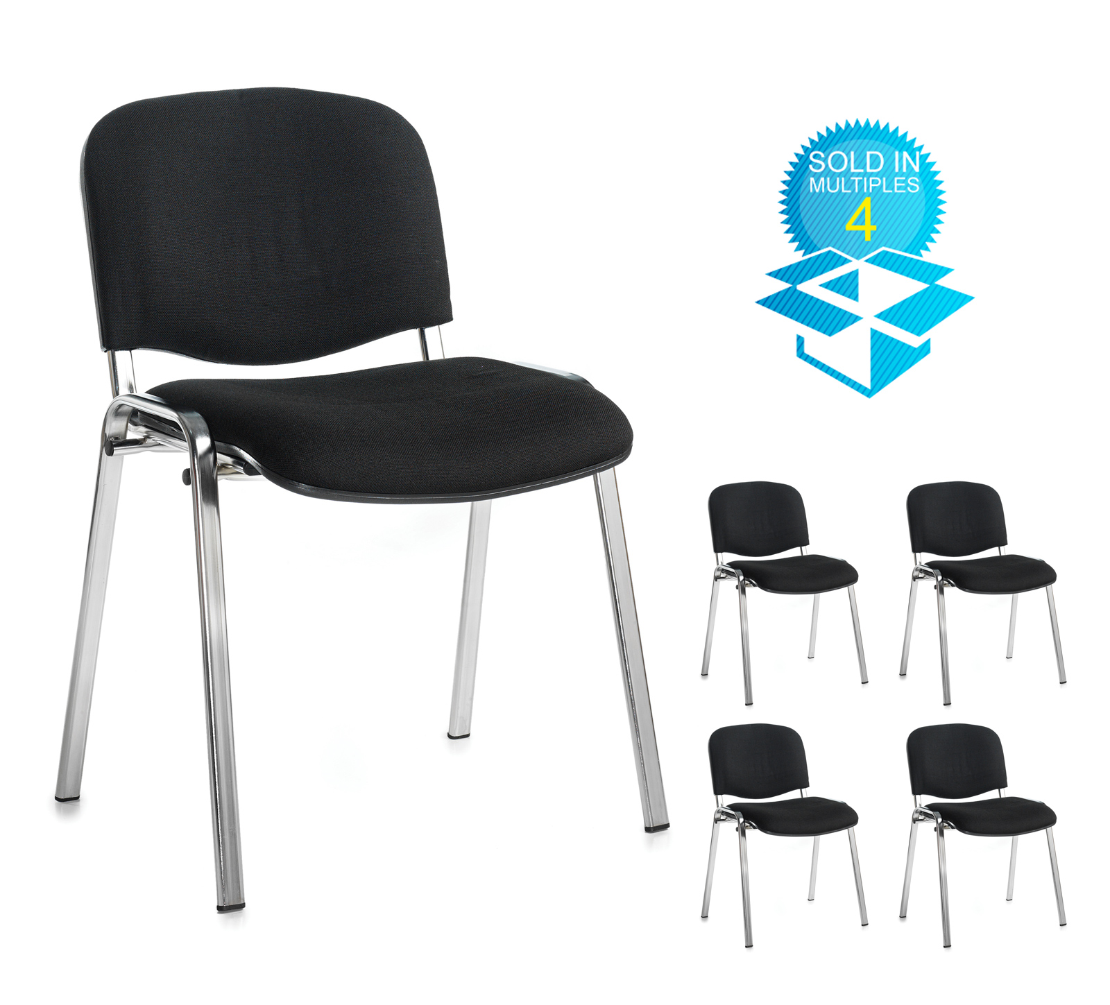 Taurus meeting room stackable chair (box of 4) with chrome frame and no arms - black