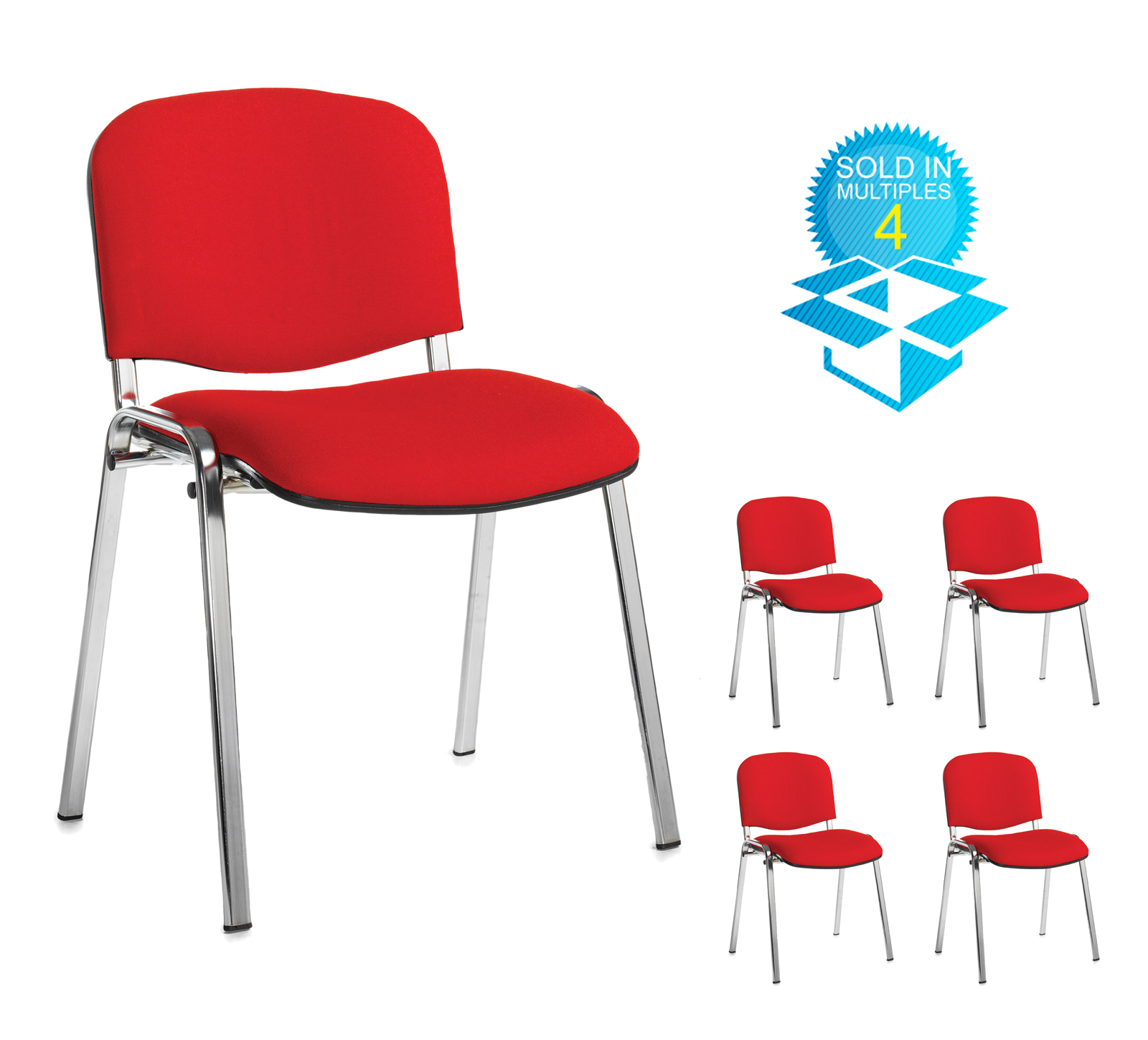 Taurus meeting room stackable chair (box of 4) with chrome frame and no arms - red