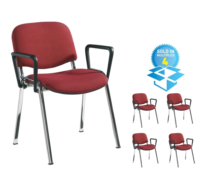 Taurus meeting room stackable chair (box of 4) with chrome frame and fixed arms - burgundy