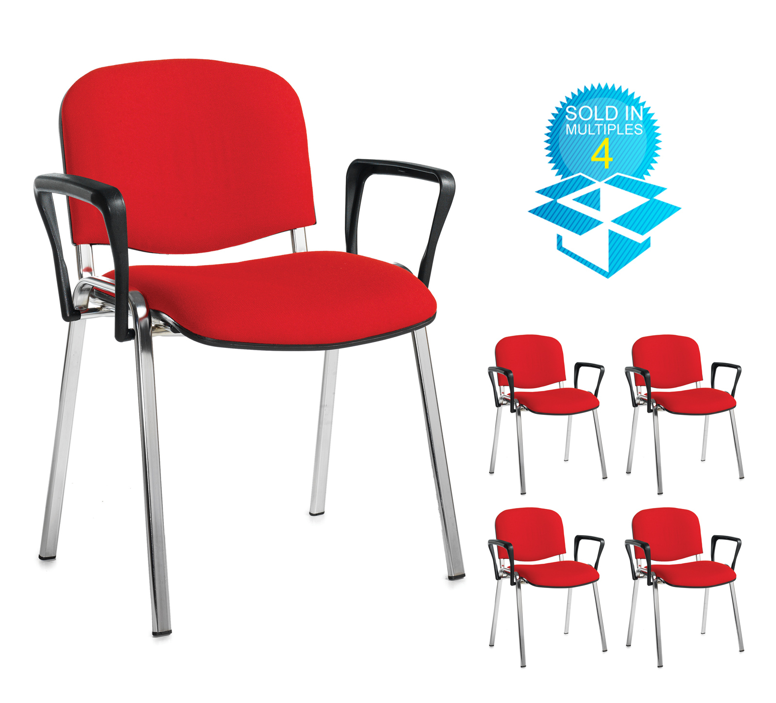 Taurus meeting room stackable chair (box of 4) with chrome frame and fixed arms - red