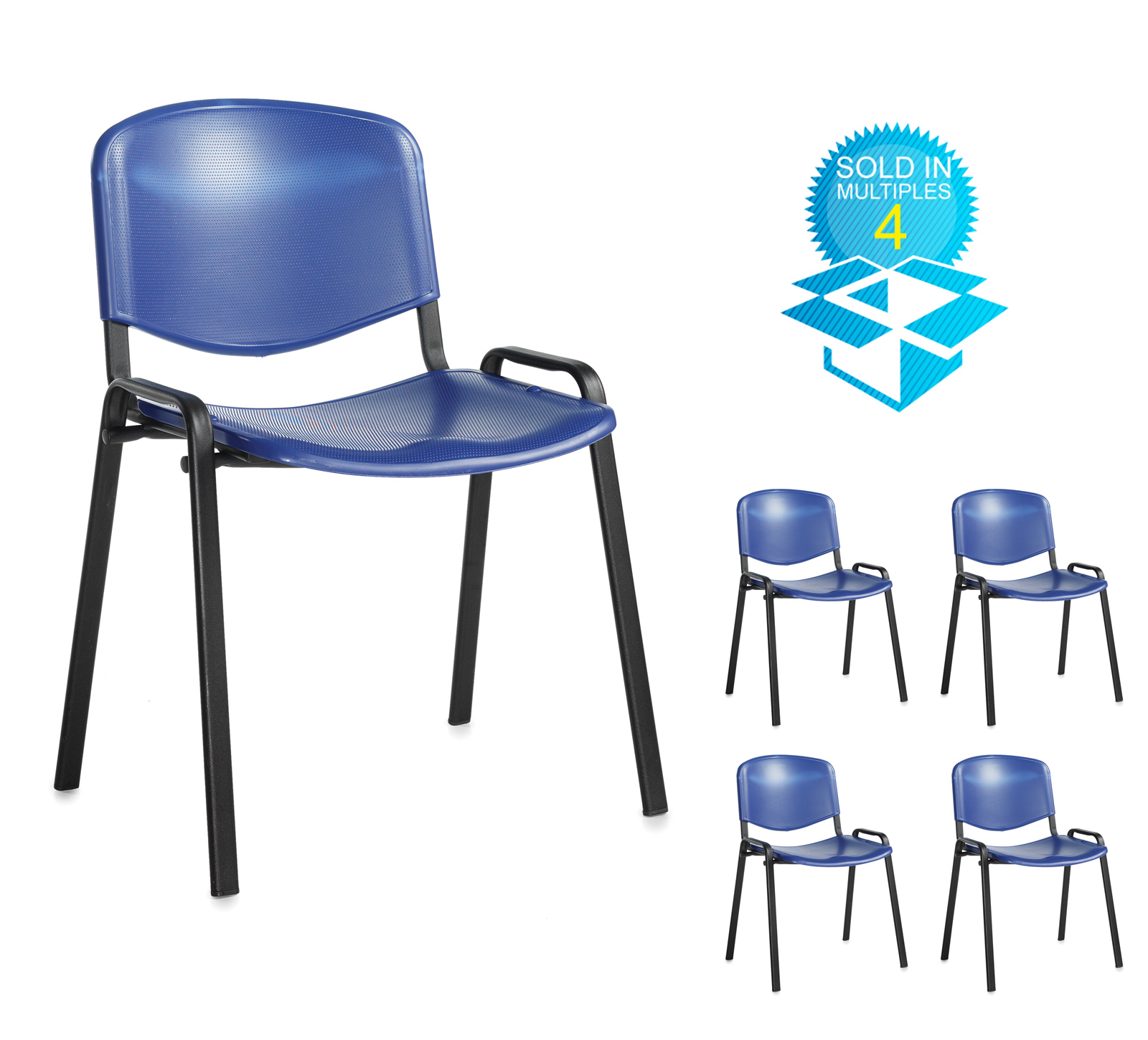 Taurus plastic meeting room stackable chair (box of 4) with no arms - blue with black frame