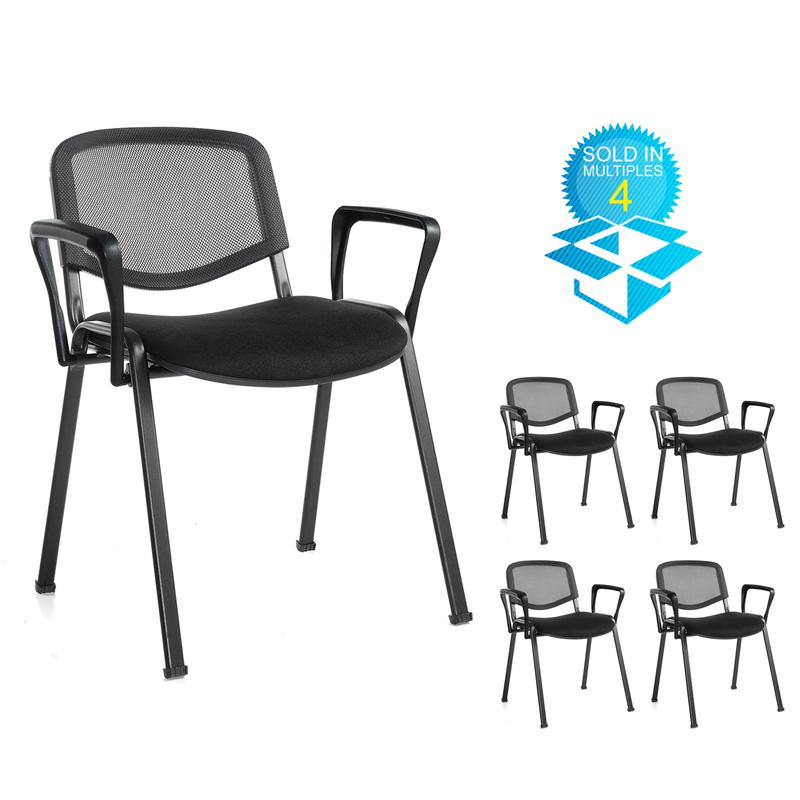 Taurus mesh back meeting room stackable chair (box of 4) with fixed arms - black