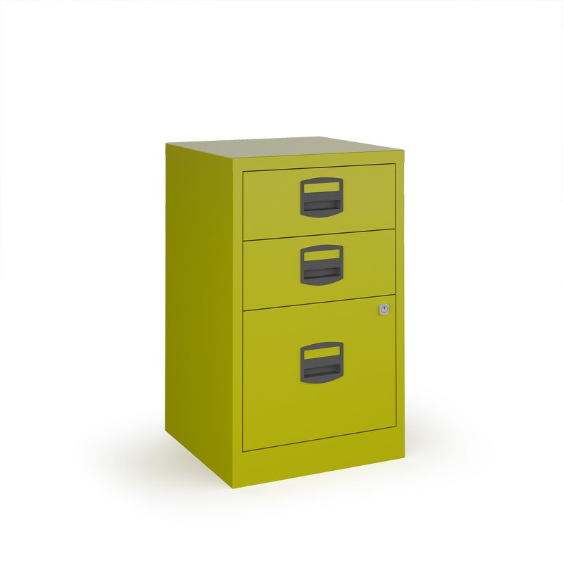 Bisley A4 home filer with 3 drawers - green