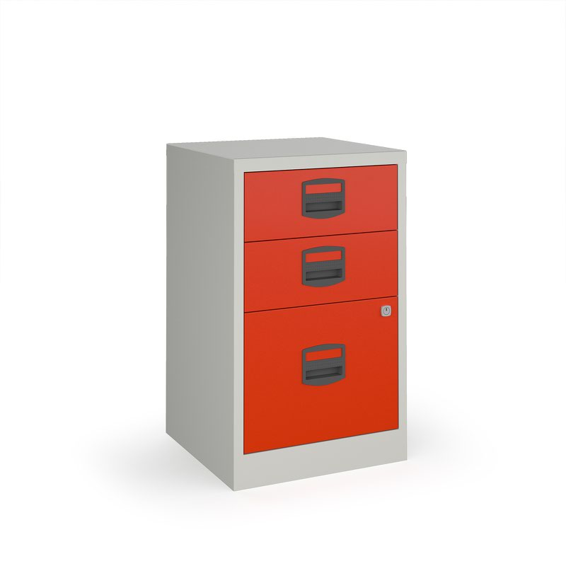 Furniture Furniture Filing Cabinets BPFA3R. Bisley A4 Home Filer With 3  Drawers   Grey With Red Drawers