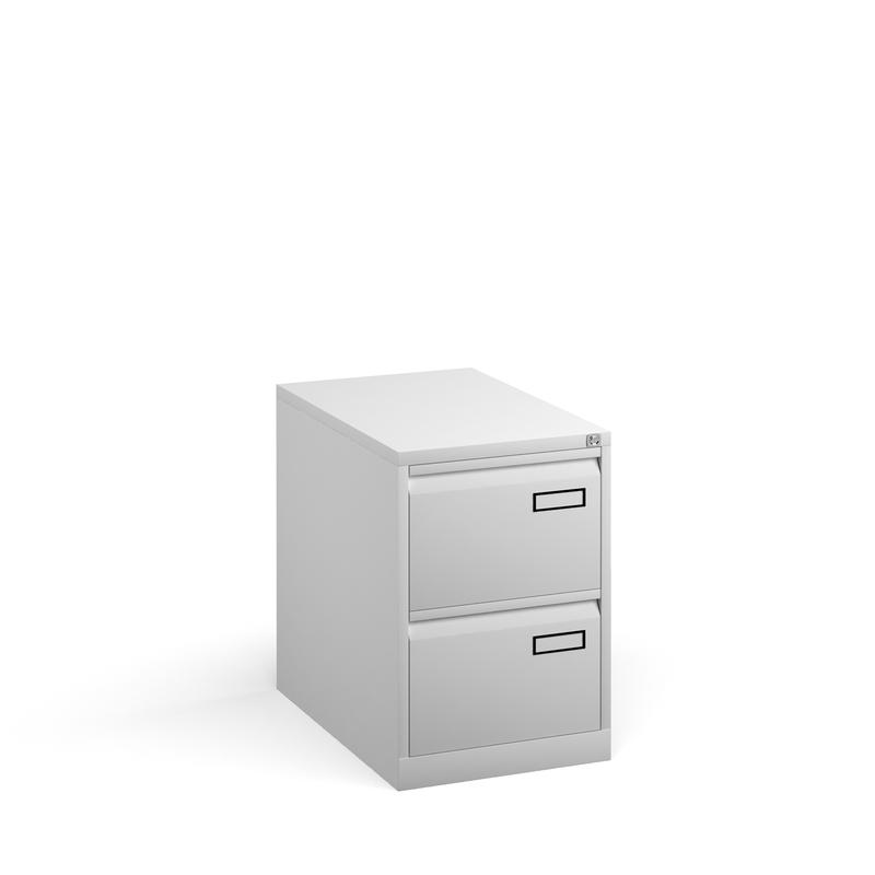 Bisley 2 drawer contract filing cabinet 711mm high - white