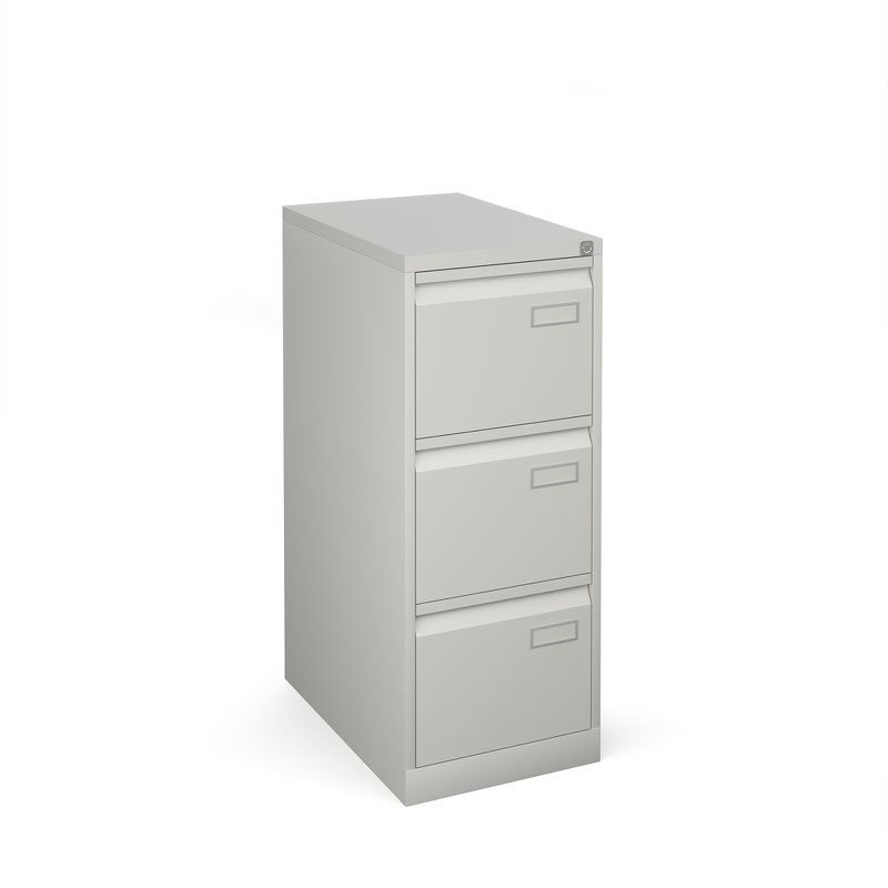 Bisley 3 drawer contract filing cabinet 1016mm high - goose grey
