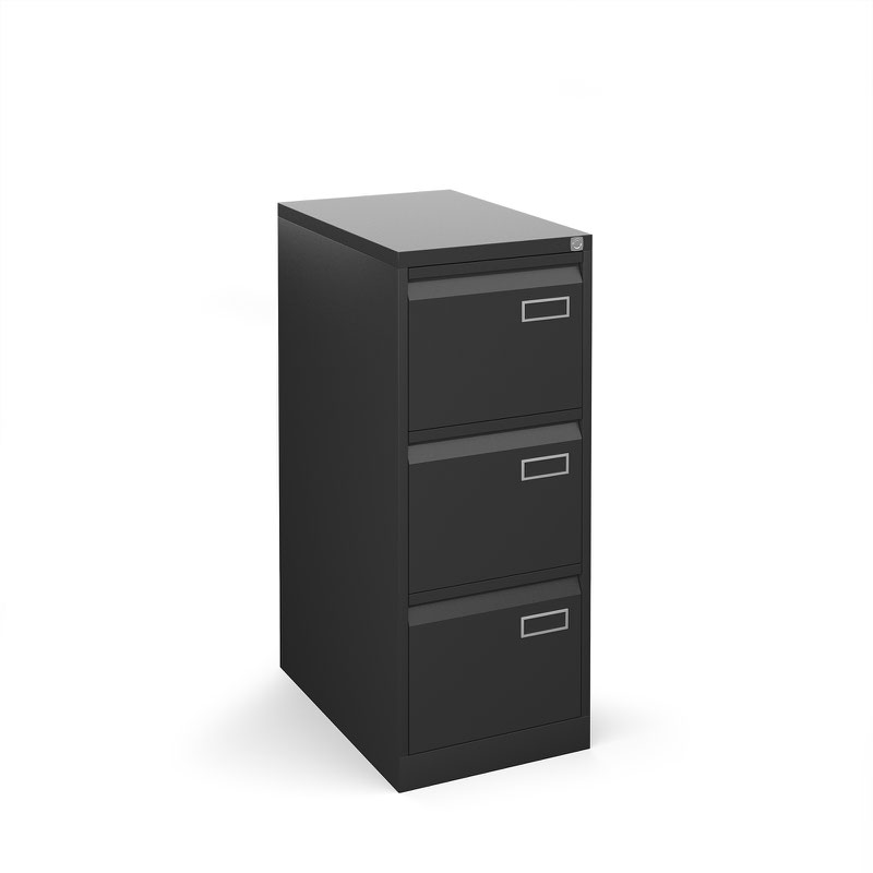 Bisley 3 drawer contract filing cabinet 1016mm high - black