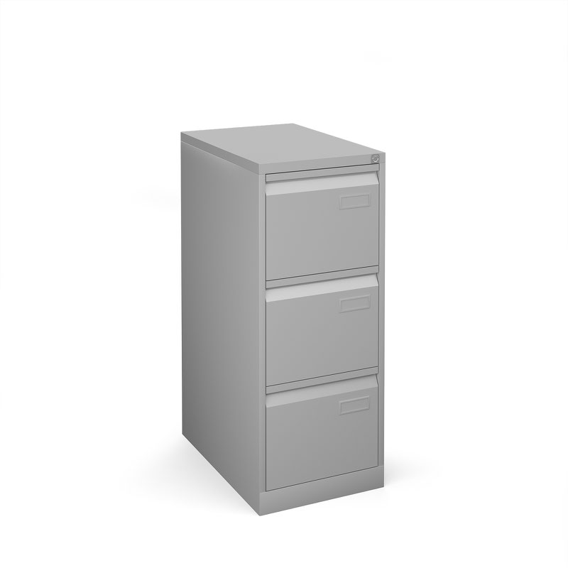 Bisley 3 drawer contract filing cabinet 1016mm high - silver
