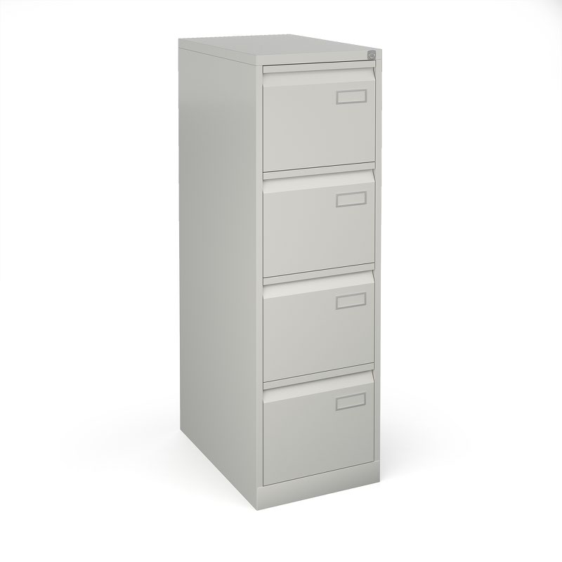 Bisley 4 drawer contract filing cabinet 1321mm high - goose grey