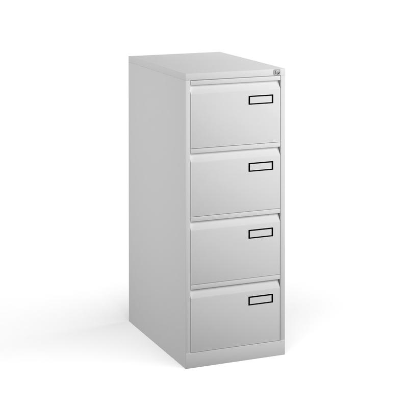 Bisley 4 drawer contract filing cabinet 1321mm high - silver