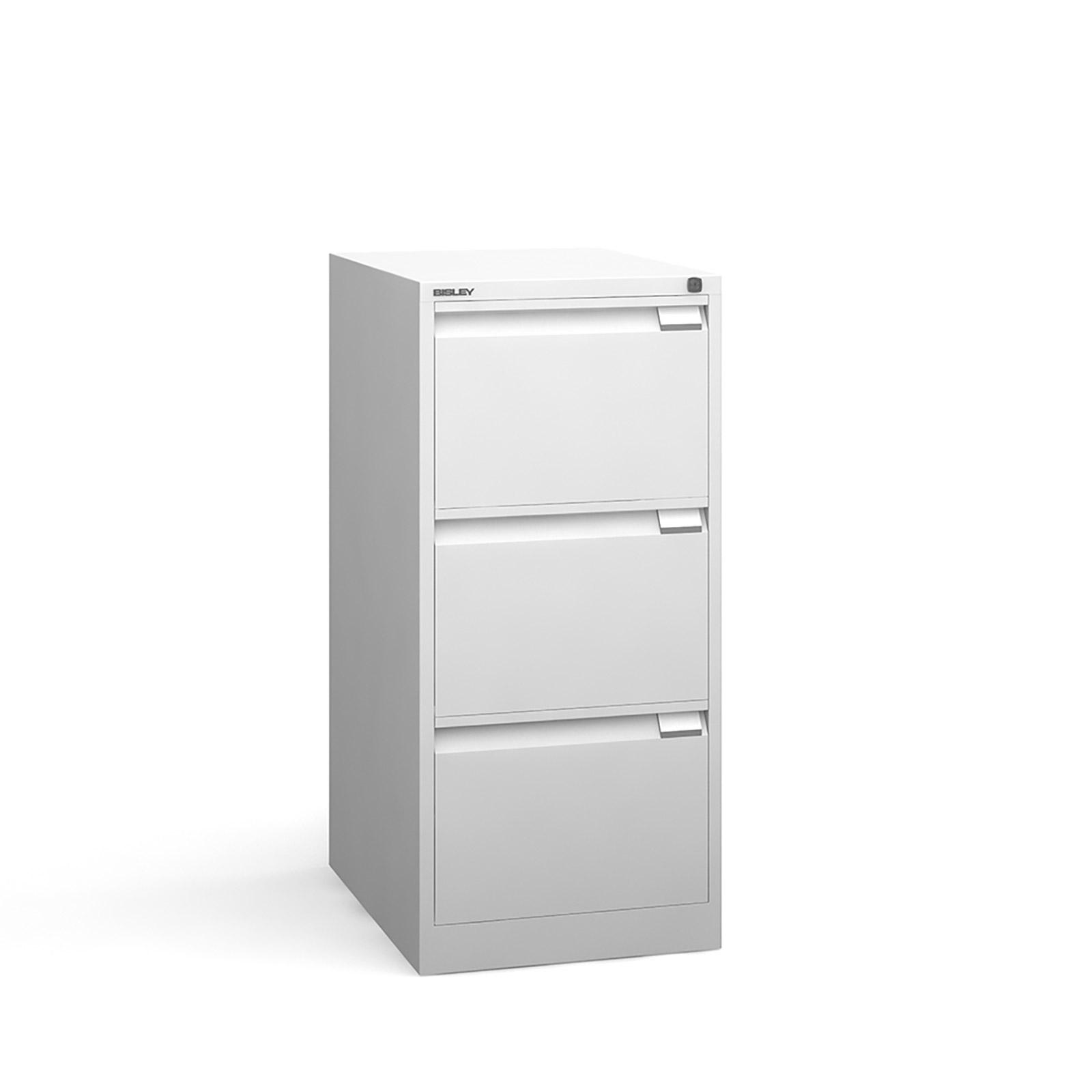 Bisley 3 drawer BS filing cabinet 1016mm - white