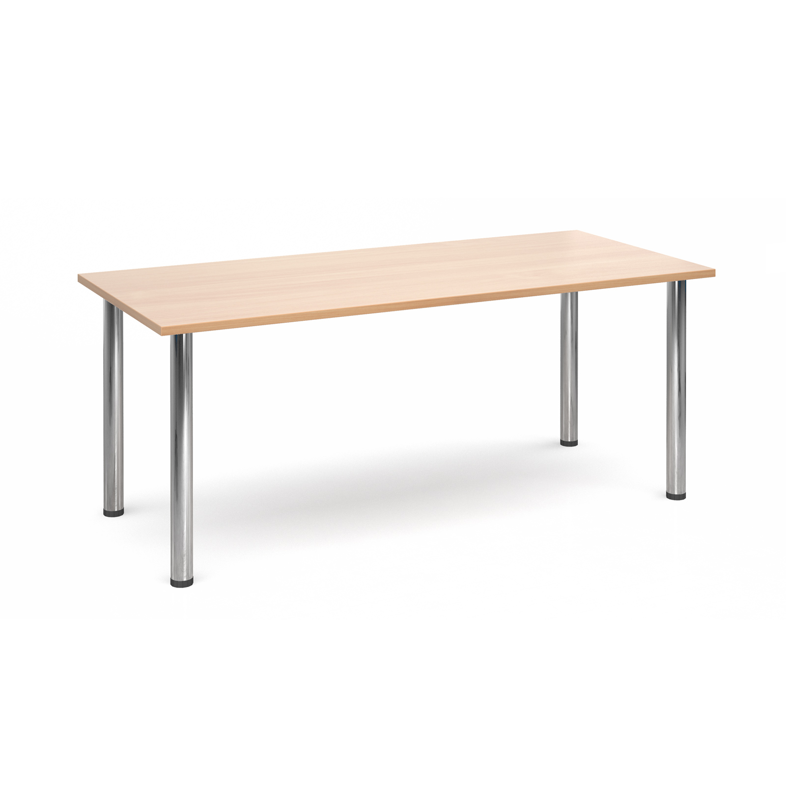 Rectangular deluxe chrome radial leg table 1800mm x 800mm - beech
