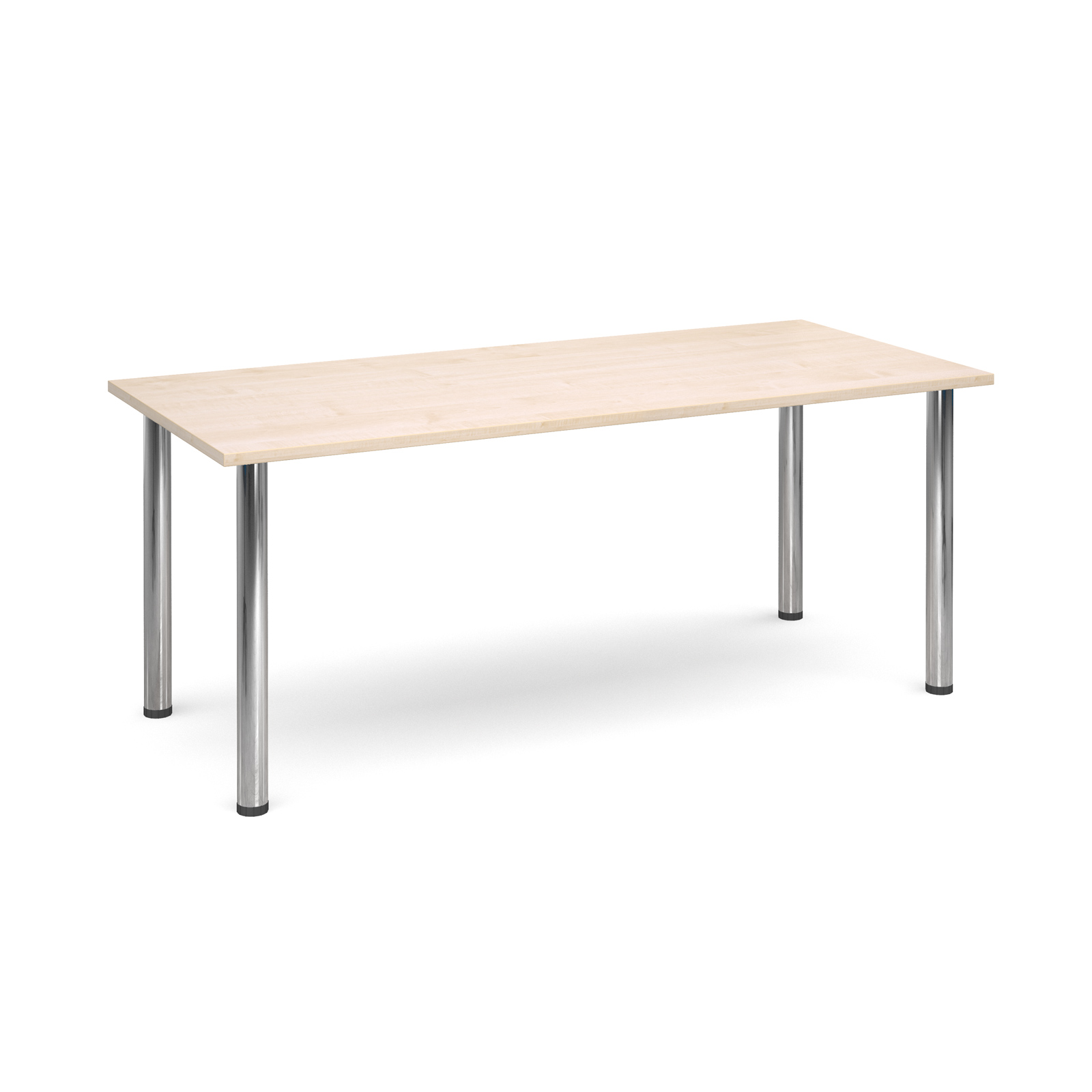 Rectangular deluxe chrome radial leg table 1800mm x 800mm - maple